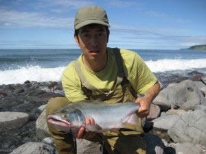 カラフトマス釣り